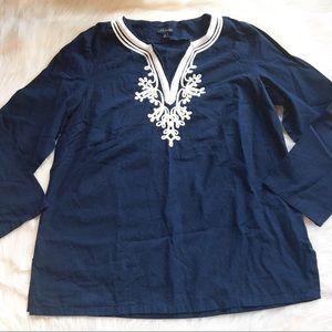 Talbots nautical blouse navy white soutache Medium
